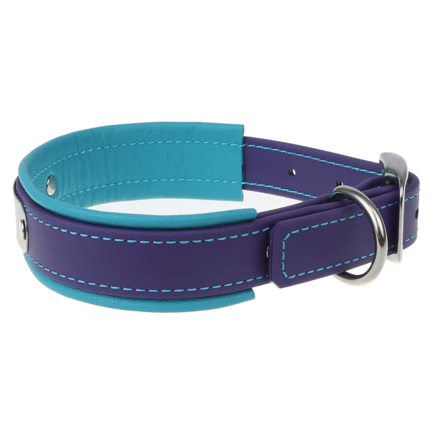 Fusion Artisan Padded Dog Collar with Nameplate Purple with Turquoise Side View