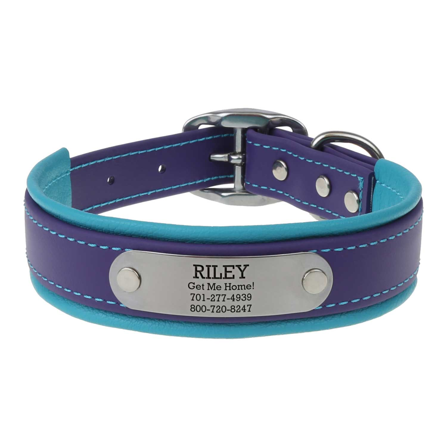 Fusion Artisan Padded Dog Collar with Nameplate Purple with Turquoise Front View