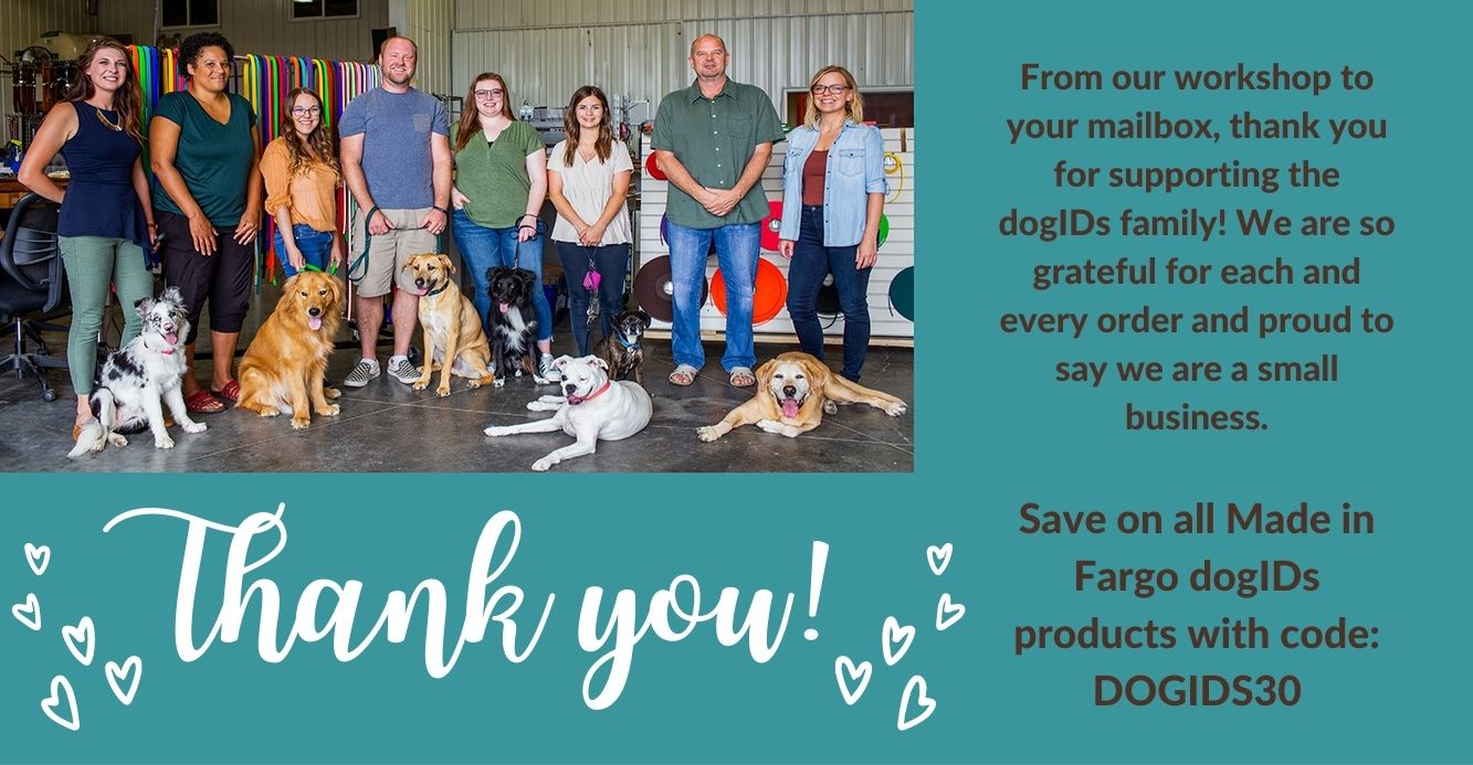 30% off Made in Fargo dogIDs products with code DOGIDS30