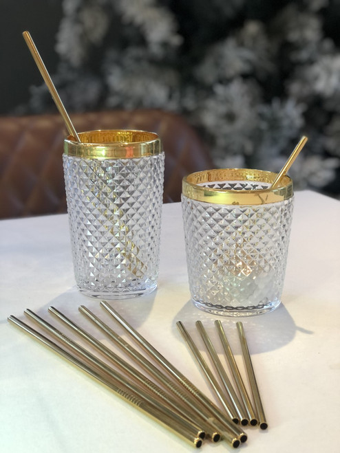 """Stainless Steel Gold Straws 8.5"""" (pack of 6)"""