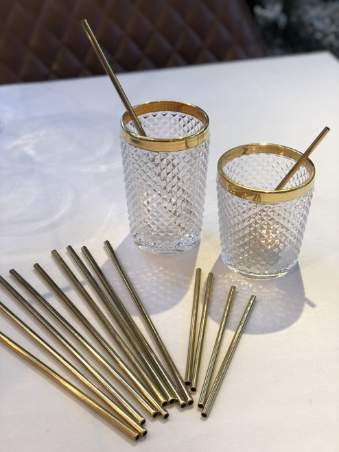 """Stainless Steel Gold Cocktail Straws 5.5"""" (pack of 6)"""