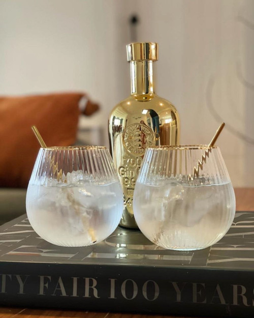 Hampton Stemless Gold Rimmed Gin Glass (pack of 2)