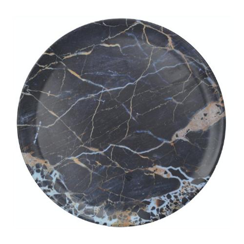 Cosmic Navy Marble Round Platter