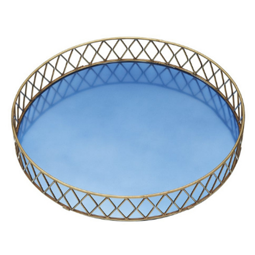Deco Blue and Brass Serving Tray