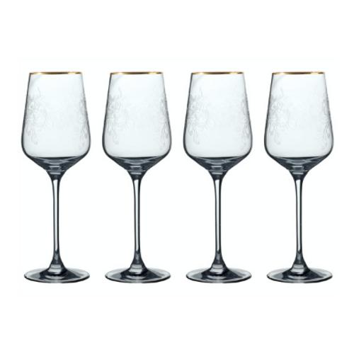 Fine Crystal Gold Rimmed White Wine Glasses (set of 4)