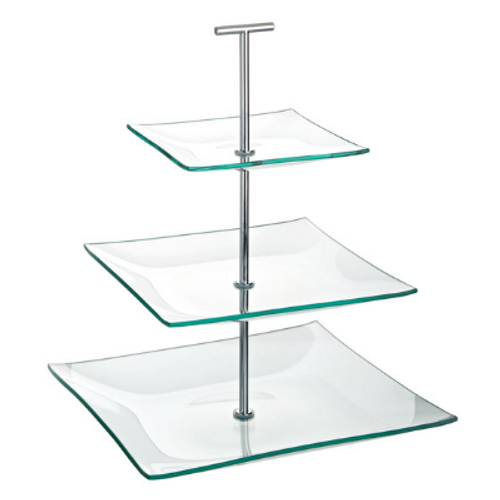 3 Tiered Square Glass Plate Stand