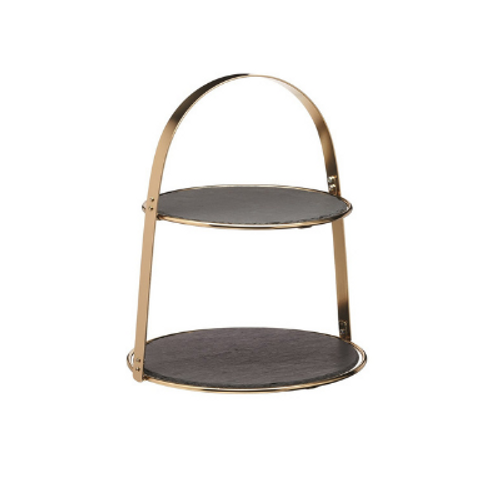 2 Tier Brass Coloured Cake Stand With Slate Serving Platters