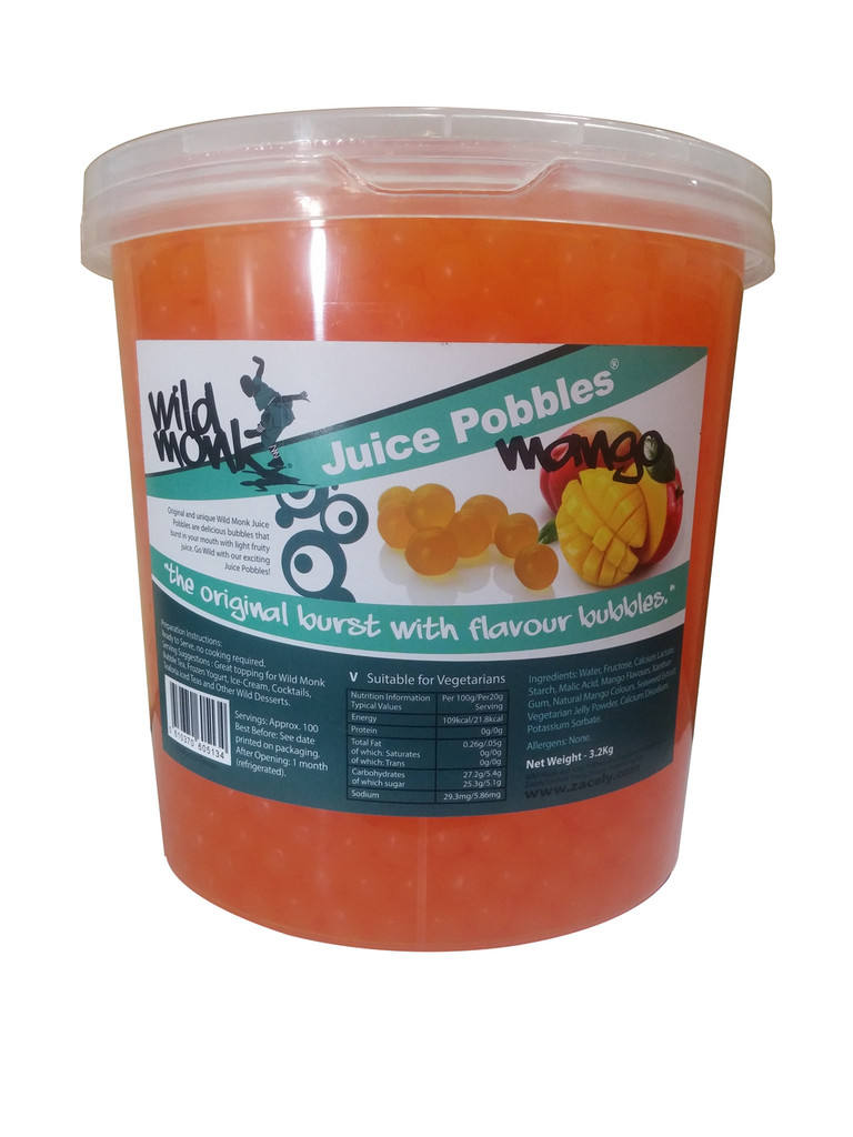 3.2kg Wild Monk MANGO Juice Pobbles for Bubble Tea (Case of 4 Tubs)