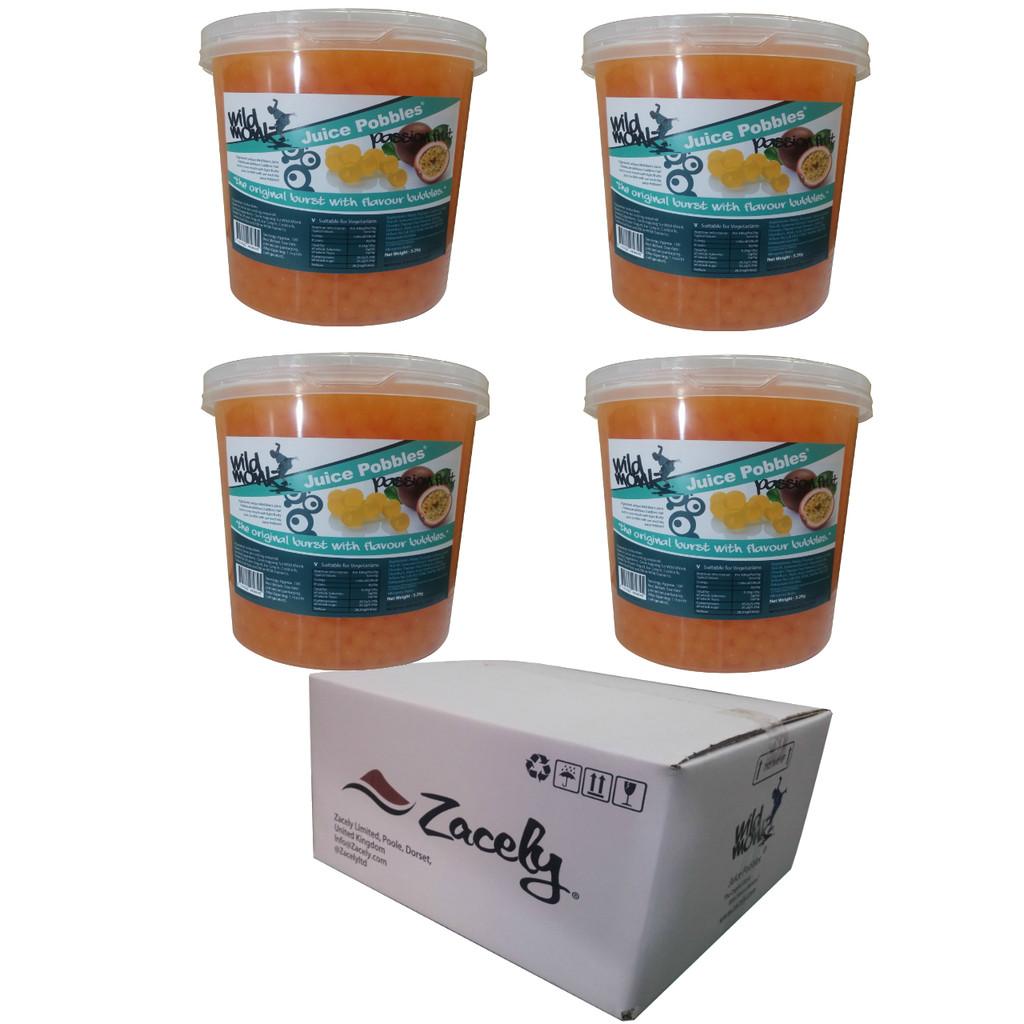 3.2kg Wild Monk PASSION FRUIT Juice Pobbles for Bubble Tea (Case of 4 Tubs)