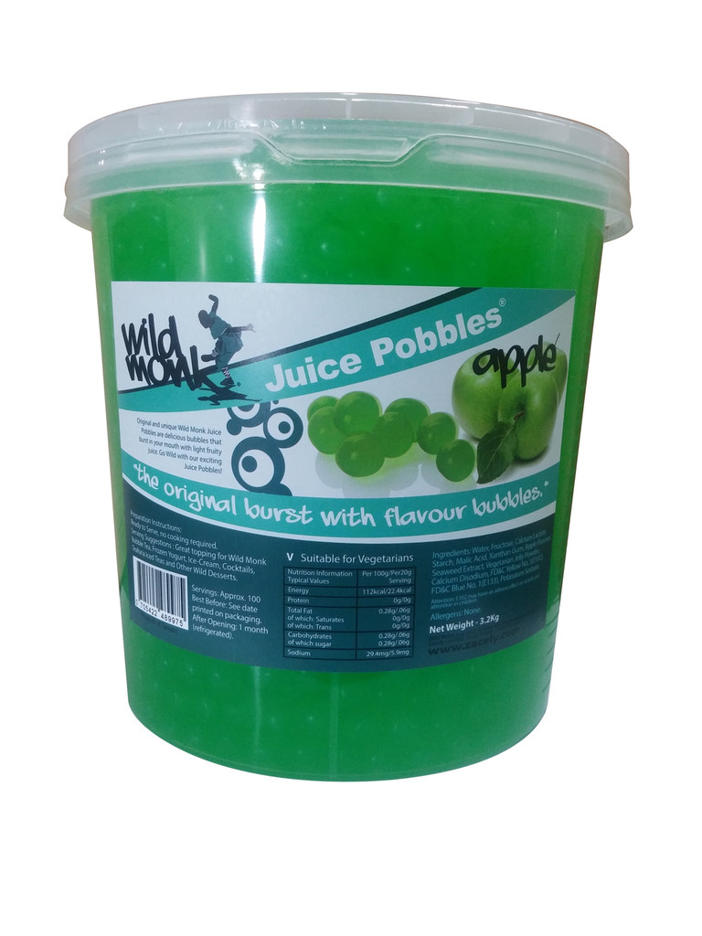 3.2kg Wild Monk APPLE Juice Pobbles for Bubble Tea (Case of 4 Tubs)