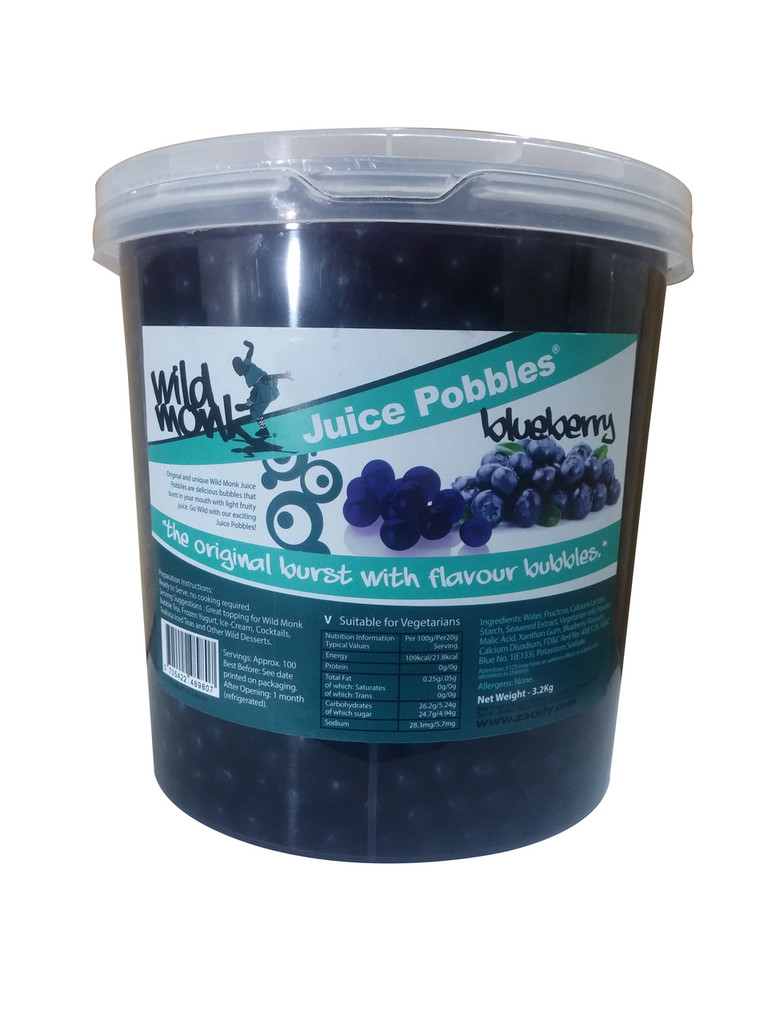3.2kg Wild Monk BLUEBERRY Juice Pobbles for Bubble Tea (Case of 4 Tubs)