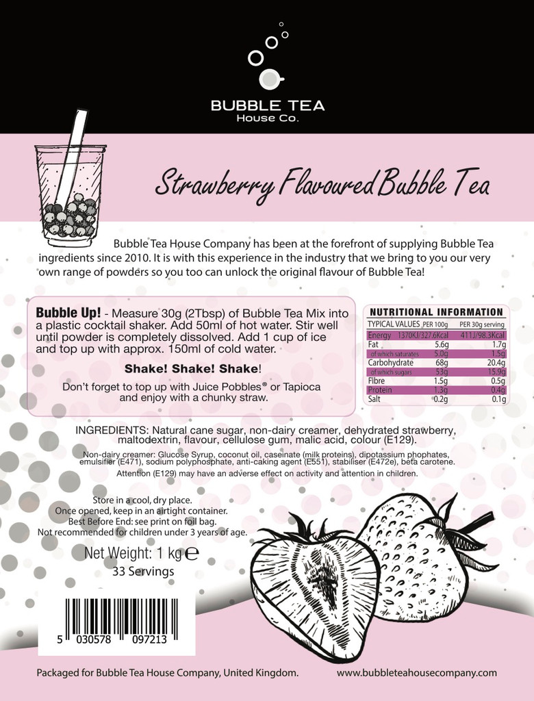 1kg STRAWBERRY Bubble Tea Powder (10 x 1kg units = £8.50/unit)