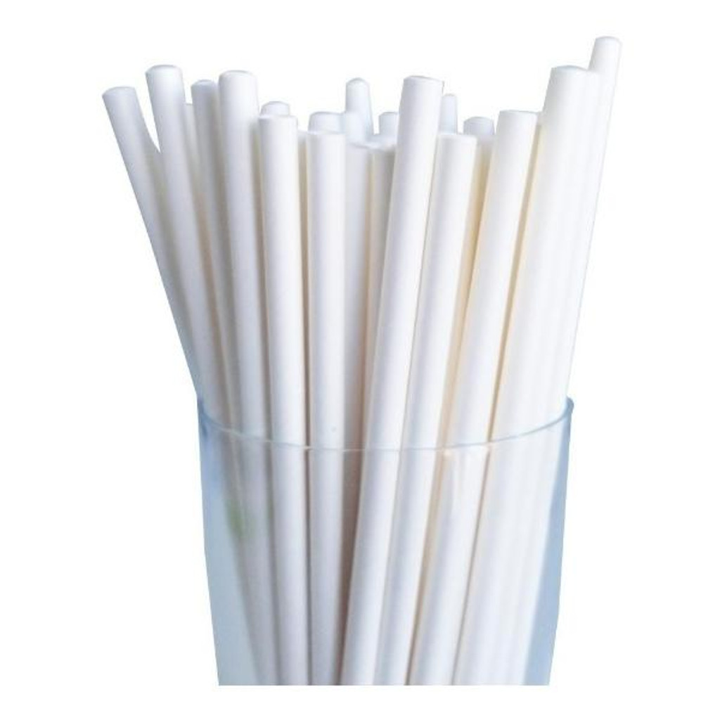50 x Chunky Paper Straws - Individually Wrapped 1.2x21cm