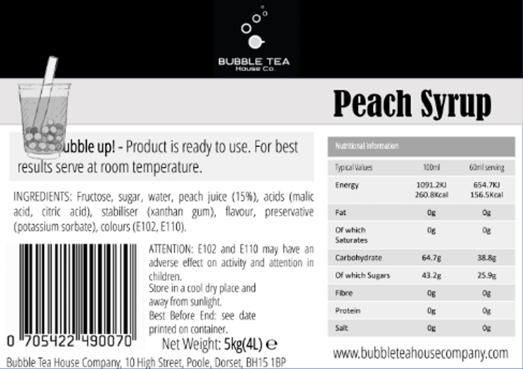 20kg (16L) Syrup for Bubble Tea - Peach (Case of 4)