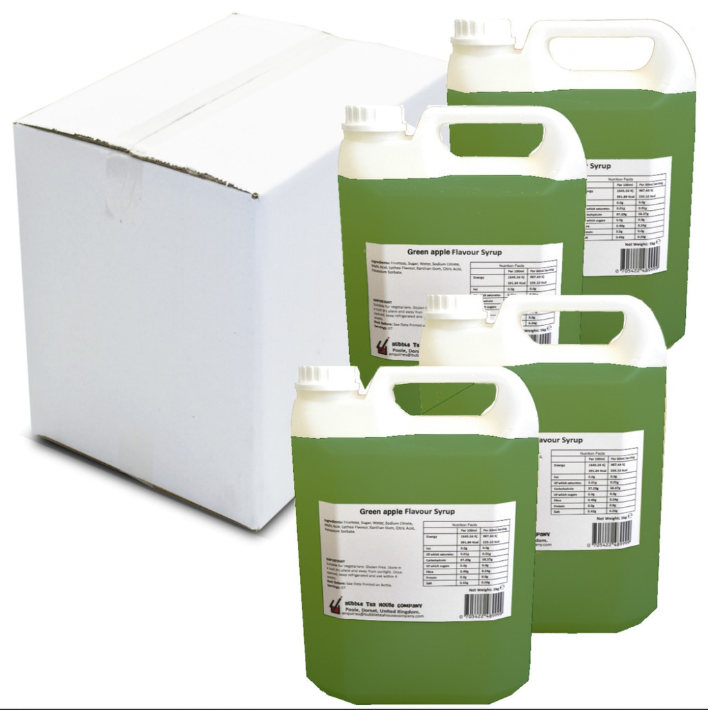 20kg (16L) Syrup for Bubble Tea - Green Apple (Case of 4)