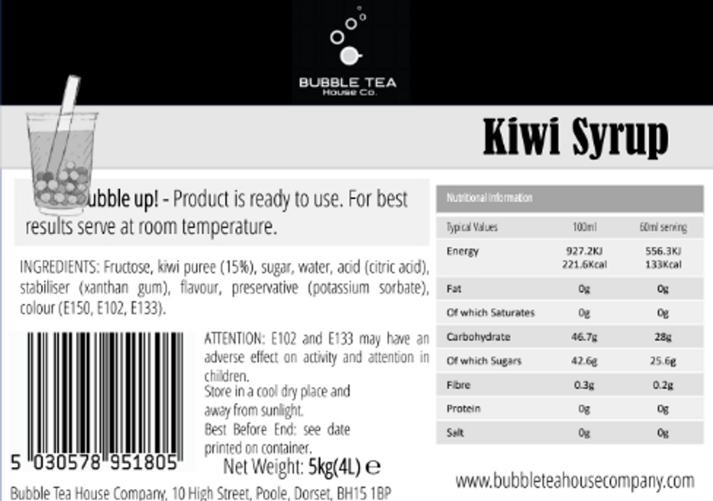 20kg (16L) Syrup for Bubble Tea - Kiwi (Case of 4)