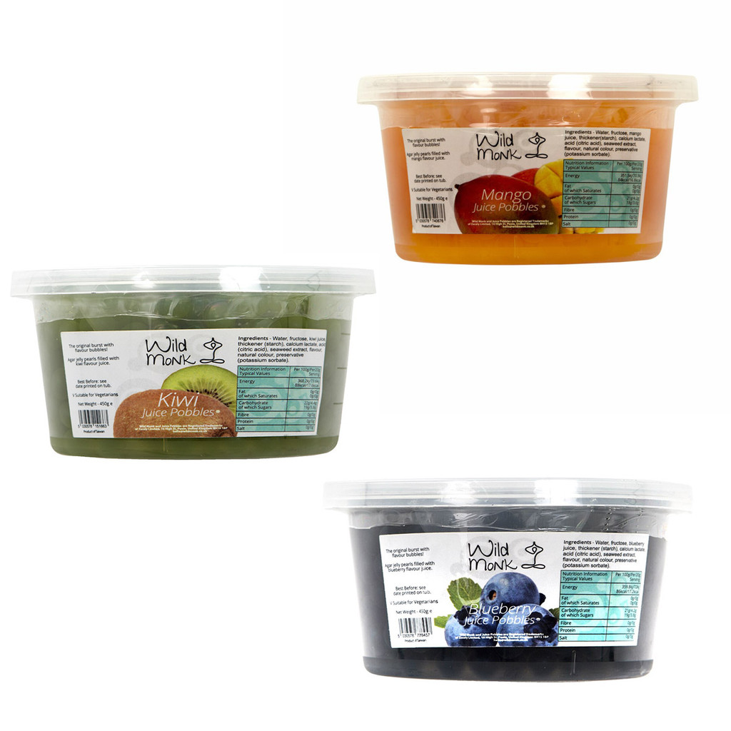 Wild Monk Blueberry, Kiwi, Mango, Juice Pobbles Three Pack (3x450g)