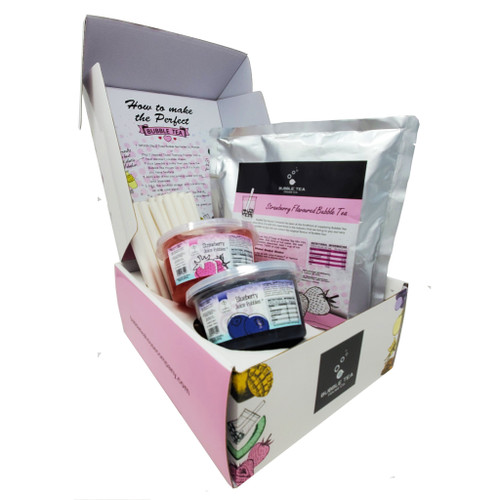 Ultimate Bubble Tea Kit STRAWBERRY (30 Servings) - Featuring Blueberry and Strawberry Juice Pobbles and Paper Straws