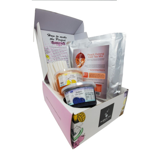 Ultimate Bubble Tea Kit PEACH (30 Servings) - Featuring Mango and Blueberry Juice Pobbles and Paper Straws