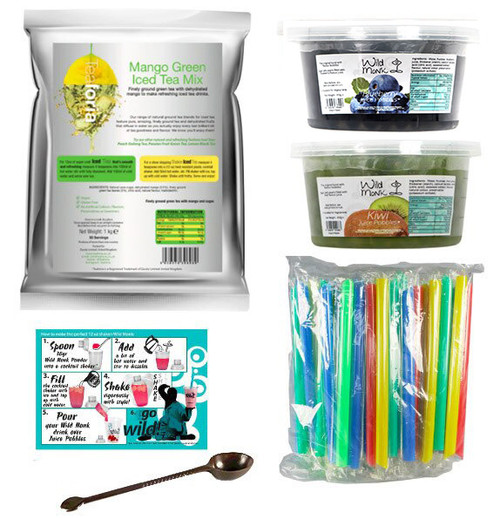 Bubble Tea - Tutti Frutti Express Kit (33 Servings) - MANGO Green Iced Tea with BLUEBERRY and KIWI Juice Pobbles and FREE Tool