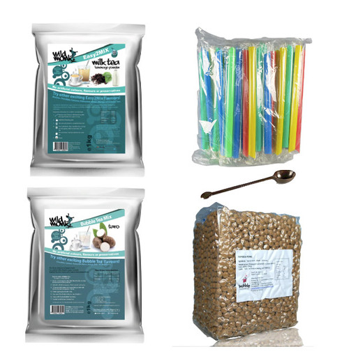 Wild Monk Bubble Tea Basics Starter Kit - with Milk Tea, Taro and Tapioca (Free Tools and Straws)