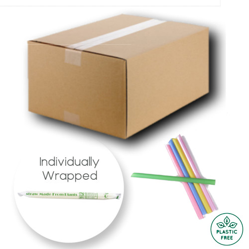 2000 x Chunky Colourful COMPOSTABLE Straws - Individually Wrapped 1.2x21cm (40 packs x 50 straws)