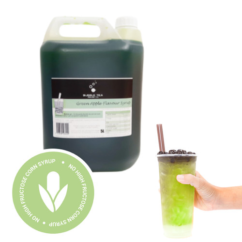 5L Syrup for Bubble Tea - GREEN APPLE - No high fructose corn syrup