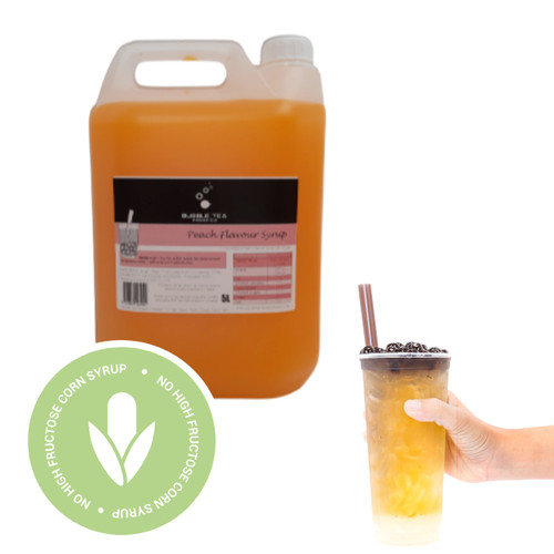 5L Syrup for Bubble Tea - PEACH - No high fructose corn syrup