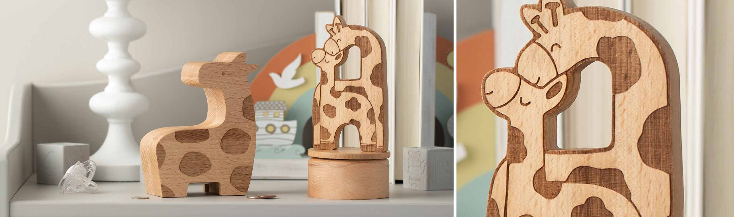 wooden giraffe toys comforting one another