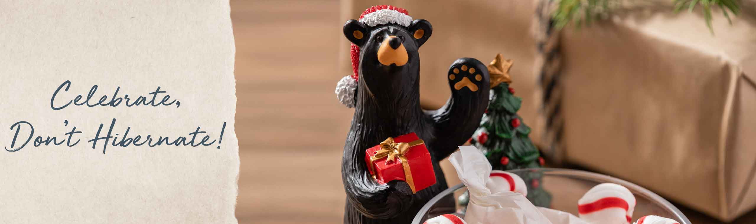 Celebrate Don't Hibernate! a photo of a bear holding his foot in the air while wearing a christmas hat