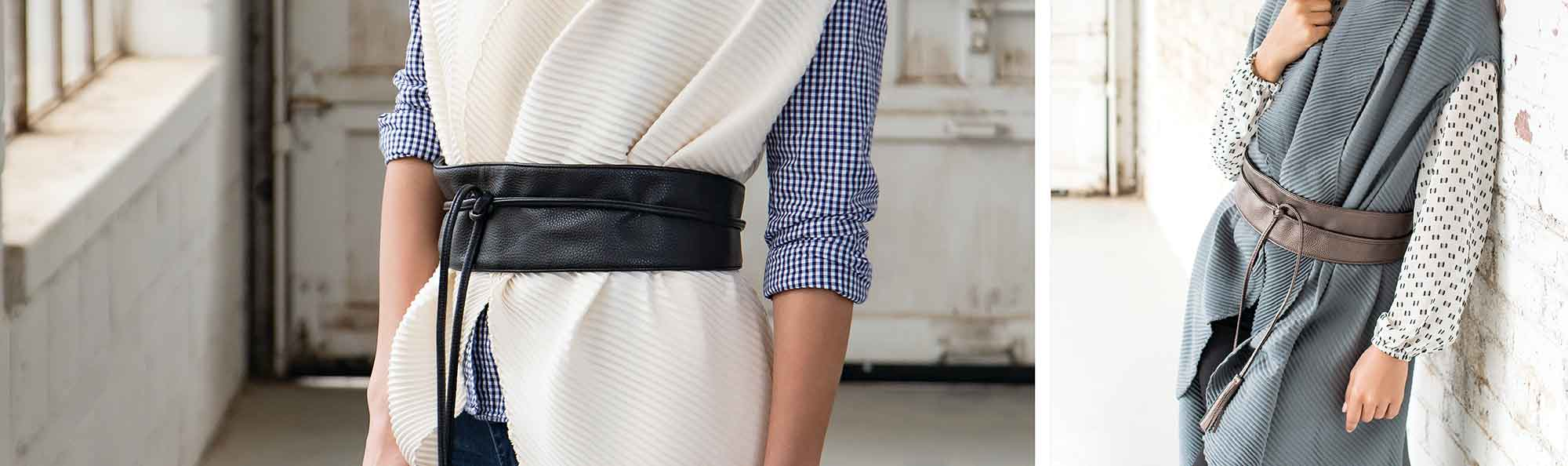 Fashionable Leather Belts that wrap around the waist on two womens