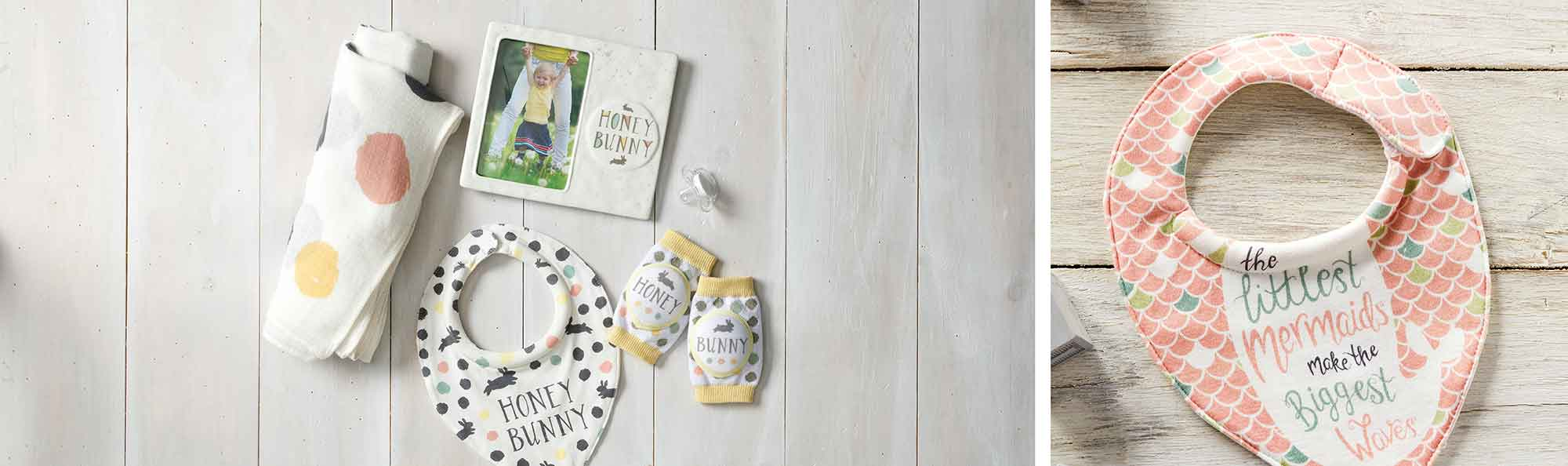 two photos of baby bibs and other useful baby products like a blanket and baby binky