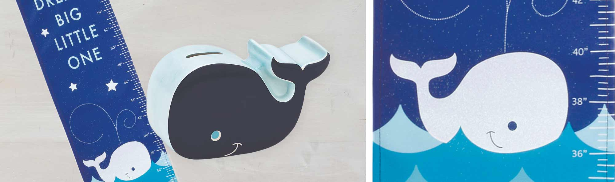 a fabric that is a ruler for babys or kids to measure their hight and a coin whale bank