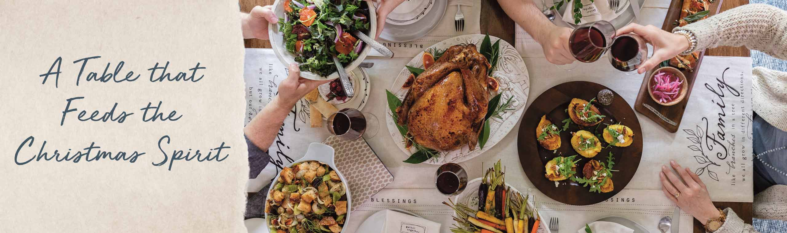 A table that feeds the Christmas Spirit. Family gathering around the table