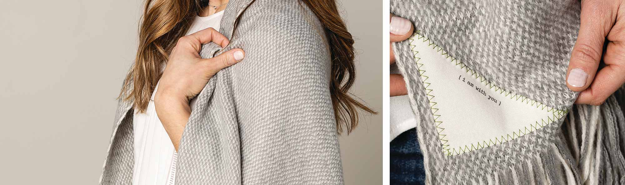 a Close up of a woman wearing a textured gray shawl and another photo zoomed out to see the whole fabric