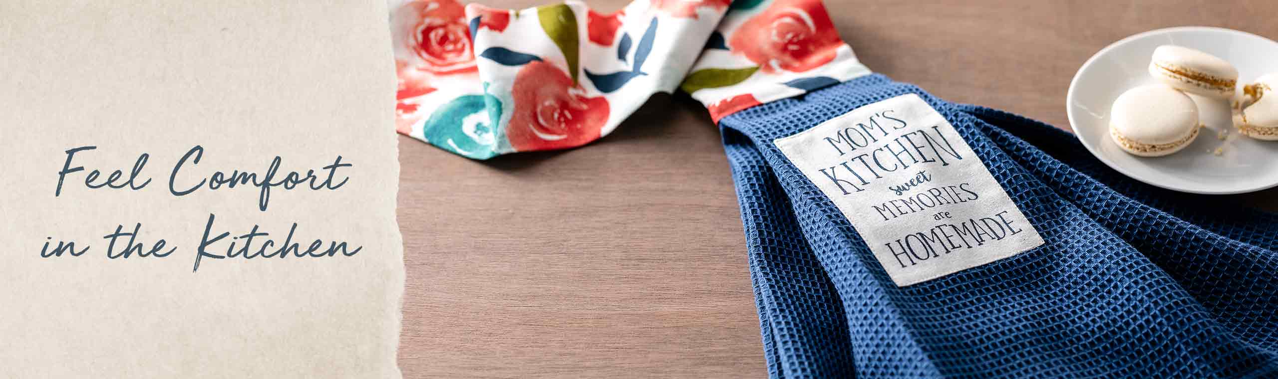 Feel the comfort in the Kitchen. photo of a blue wash towel with flowers
