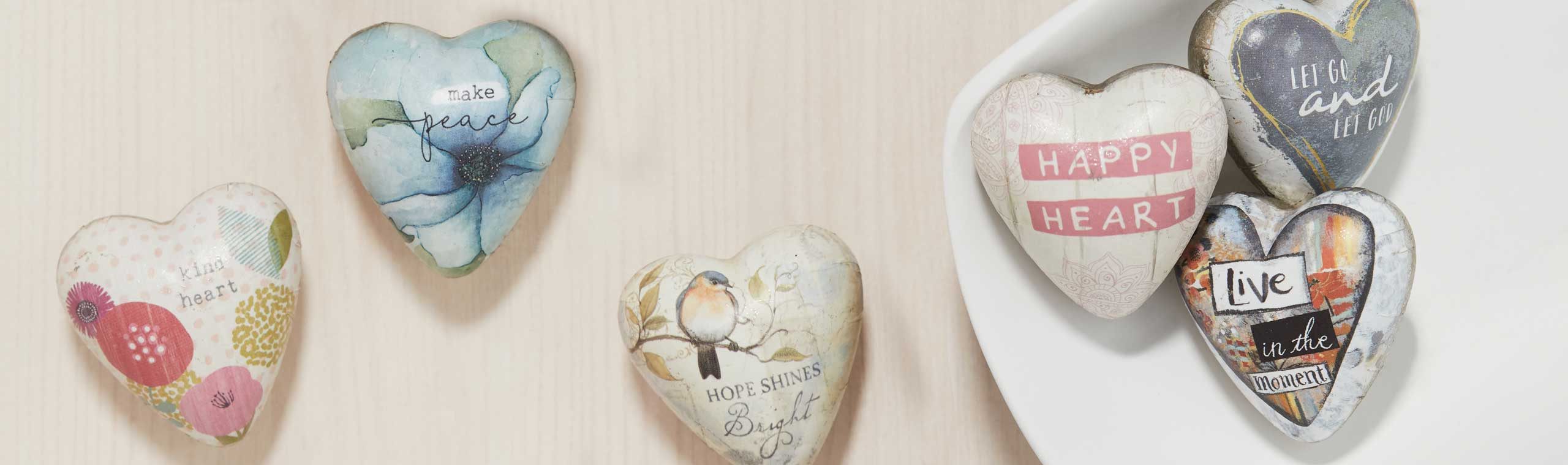 Series of art heart tokens with quotes