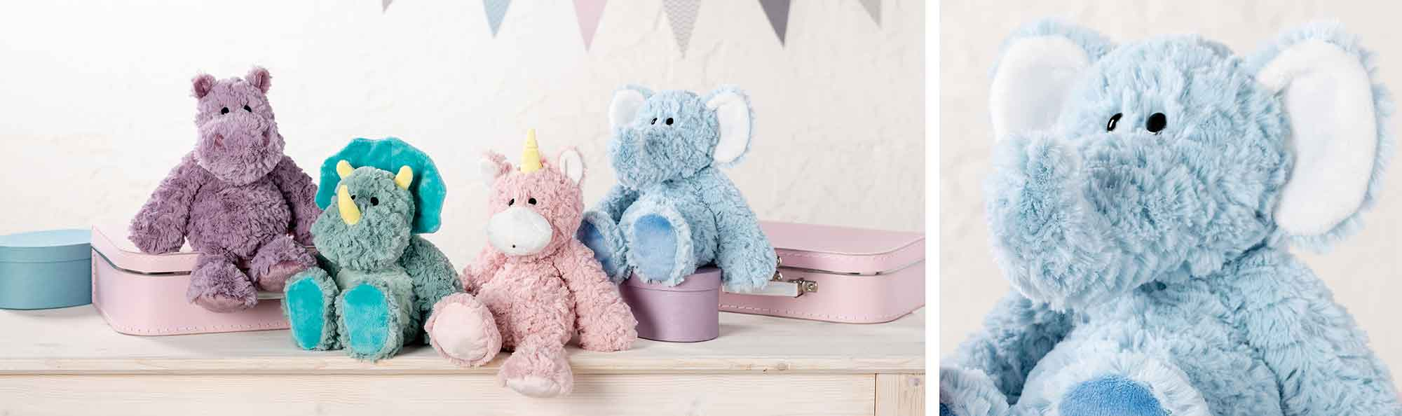 four colored stuffed animals and a close up of the blue elephant
