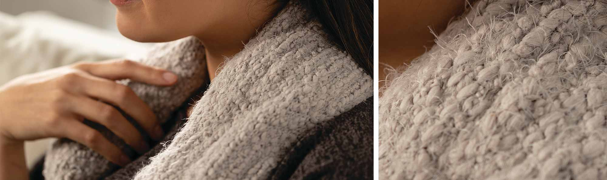 a Neck wrap that is soft and comfortable around a women and another women showing off her scarf