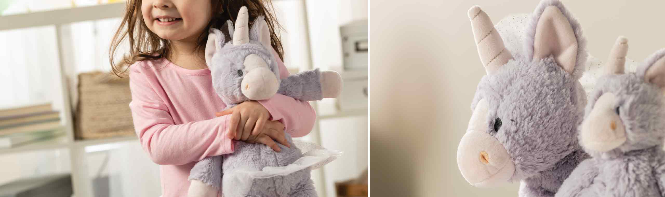 A child holding a Unicorn and another photo of the unicorn upclose to look a the soft purple fur