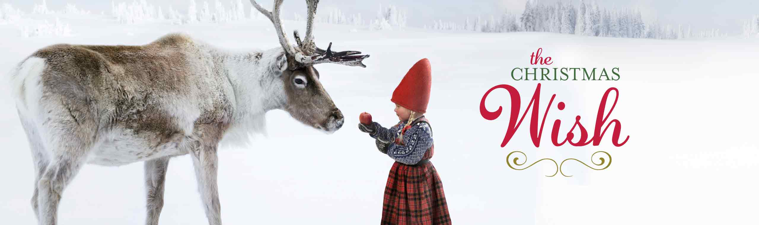 A picture of a moose and a elf girl with the text the Christmas wish