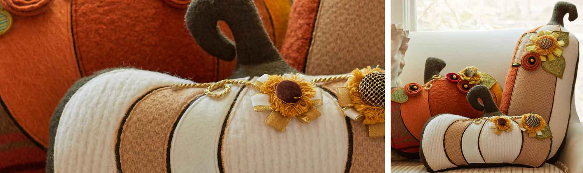 Pillows on a chair that are pumpkins and squash made to look like a pumpkin patch