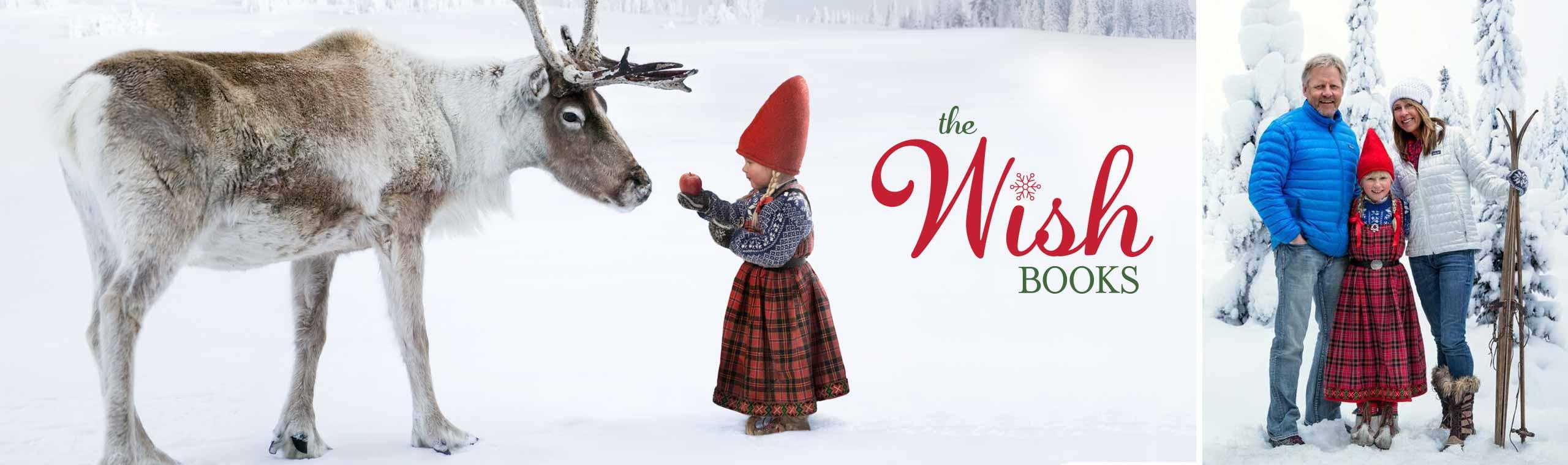 an elf feeding a raindeer. and the logo of the Wish books