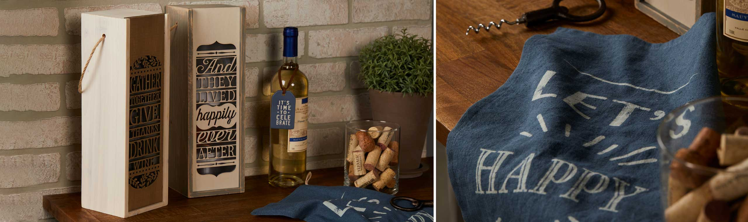 wooden wine cases and a bottle of wine setting on a table and another photo of a blue appron with a quote about being happy printed on it