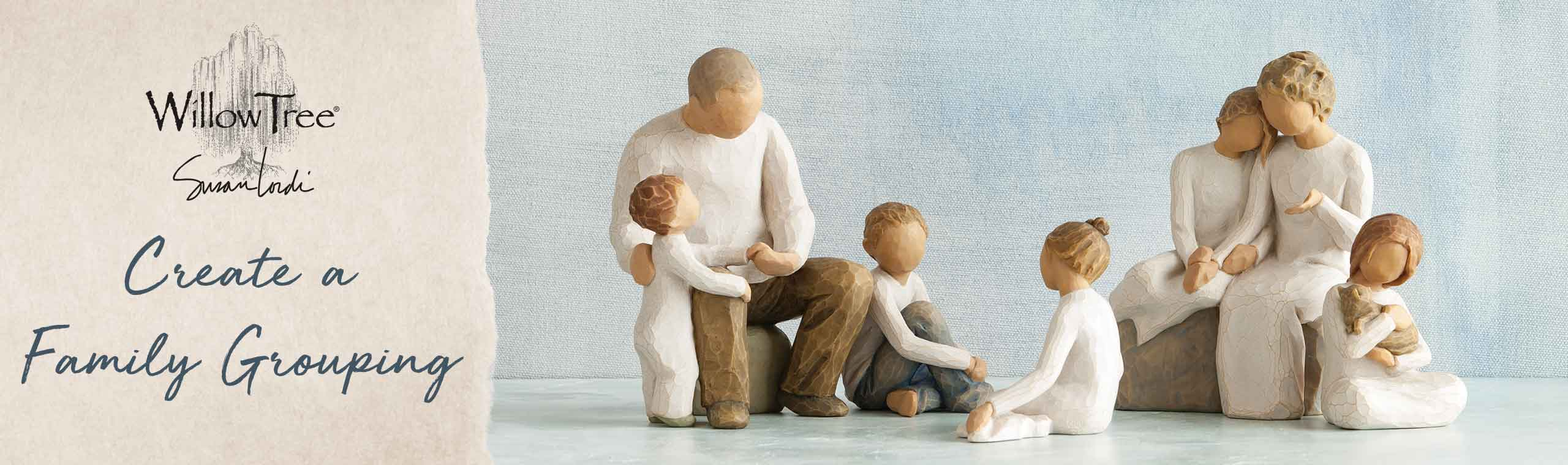 Create a family grouping. a photo of a set of family carvings on a white table in front of a water color background