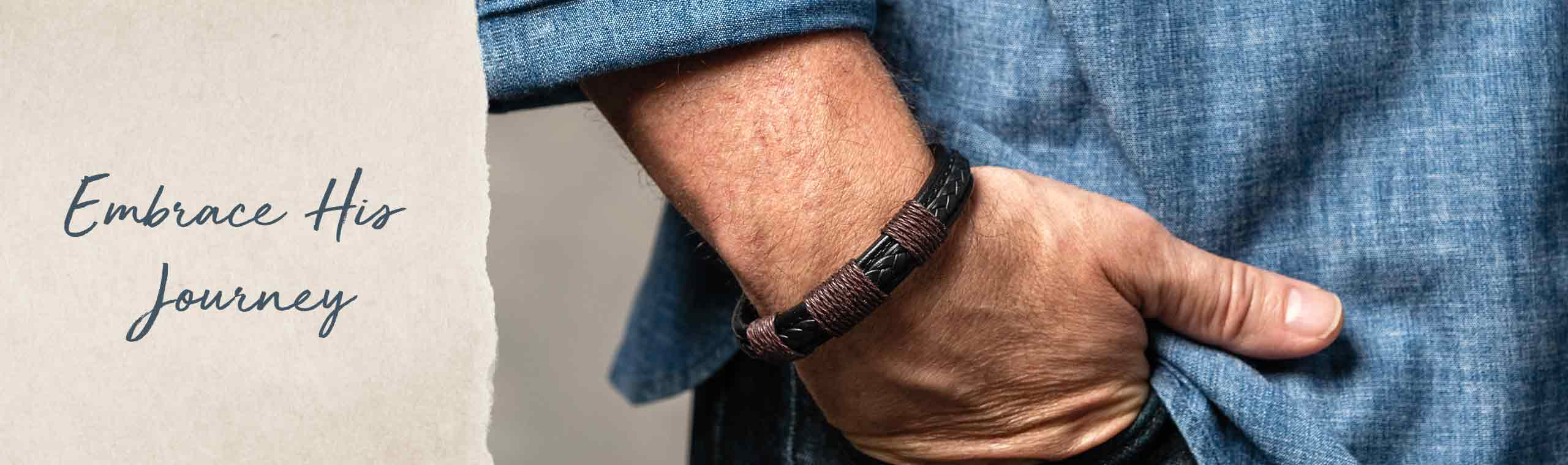 Embrace His Journey! a man wearing a your journey bracelet
