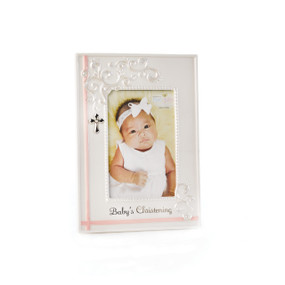 White photo frame with image of baby centered and 'Babys Christening' in black letters below it