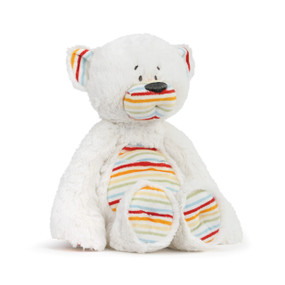 white stuffed bear with striped stomach, bottoms of feet, nose and inside of ears