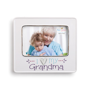 White photo frame with image of grandma holding baby - bottom of frame says 'i heart my grandma' in blue and purple