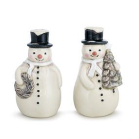 Two white snowmen, one holding a silver wreath and one holding a silver tree.